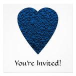 Blue Heart. Patterned Heart Design. Custom Invitations