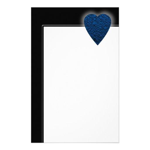 Blue Heart. Patterned Heart Design. Stationery