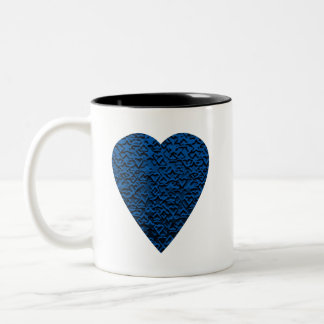 Blue Heart. Patterned Heart Design. Two-Tone Coffee Mug