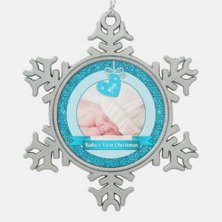 Blue Heart Photo Baby's First Christmas (Xmas) Snowflake Pewter Christmas Ornament