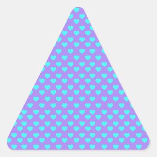 Blue Heart Polka Dot Pattern Triangle Sticker