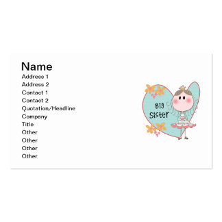 Blue Heart Princess Big Sister Double-Sided Standard Business Cards (Pack Of 100)