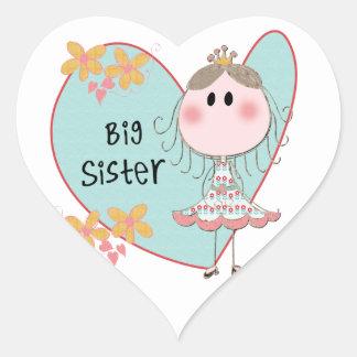 Blue Heart Princess Big Sister Heart Stickers