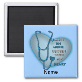 Blue Heart RN Nurse 2 Inch Square Magnet
