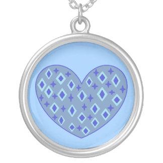 Blue Heart Round Pendant Necklace