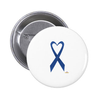 Blue Heart Shaped Awareness Ribbon 2 Inch Round Button