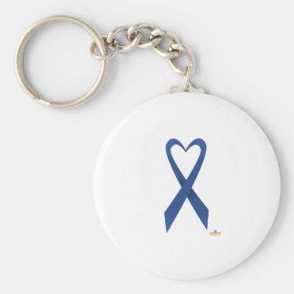 Blue Heart Shaped Awareness Ribbon Keychains