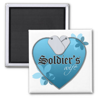 Blue Heart Shaped Dog Tags - Soldier's Wife 2 Inch Square Magnet