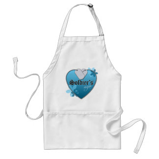 Blue Heart Shaped Dog Tags - Soldier's Wife Adult Apron