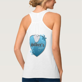 Blue Heart Shaped Dog Tags - Soldier's Wife T Shirt