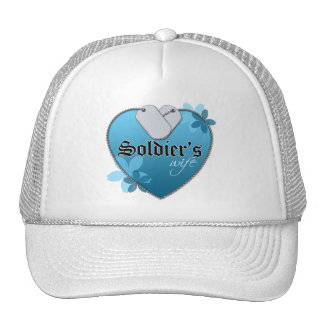 Blue Heart Shaped Dog Tags - Soldier's Wife Trucker Hat