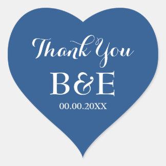Blue heart shaped wedding favor thank you sticker