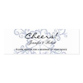 Blue Heart Snowflake Wedding Drink Tickets Business Card