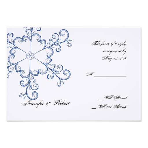 Blue Heart Snowflake Wedding Response Card Personalized Invitations