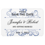 Blue Heart Snowflake Wedding Save the Date Magnets