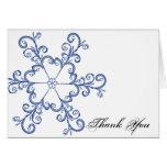 Blue Heart Snowflake Wedding Thank You card