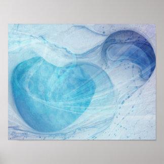 Blue Heart Swirls Poster