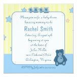 Blue Heart Teddy Bear Baby Shower Invitation