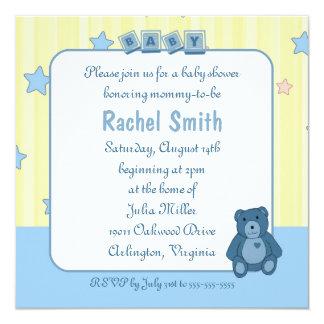 "Blue Heart Teddy Bear Baby Shower Invitation 5.25"" Square Invitation Card"