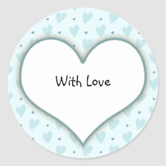 Blue heart template classic round sticker