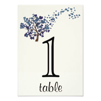 Blue Heart Tree on Ivory Anniversary Table Number 5x7 Paper Invitation Card
