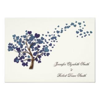 Blue Heart Tree on Ivory Wedding 5x7 Paper Invitation Card