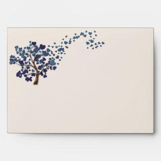 Blue Heart Tree on Ivory Wedding Envelopes