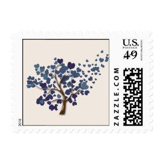 Blue Heart Tree on Ivory Wedding Postage