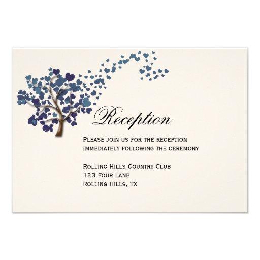Blue Heart Tree on Ivory Wedding Reception Card