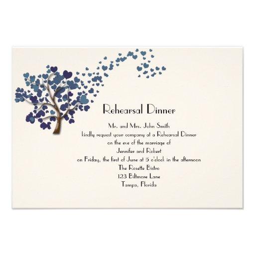 Blue Heart Tree on Ivory Wedding Rehearsal Dinner Custom Announcement