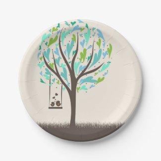 Blue Heart Tree Paper Plates