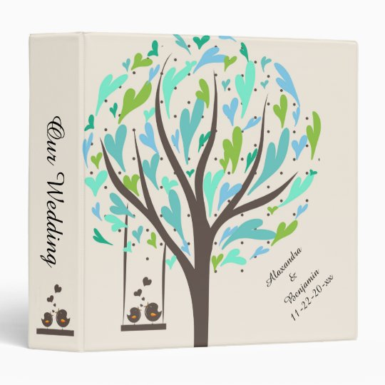 Blue Heart Tree Wedding Album 3 Ring Binder