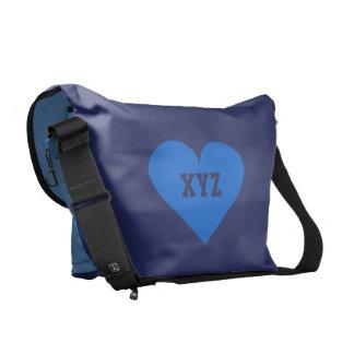 Blue Heart Valentine custom messenger bag