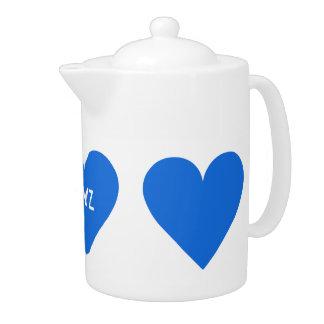 Blue Heart Valentine custom teapot
