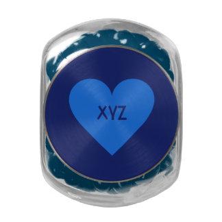 Blue Heart Valentine custom tins & jars Glass Jars
