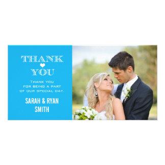 Blue Heart Wedding Photo Thank You Cards