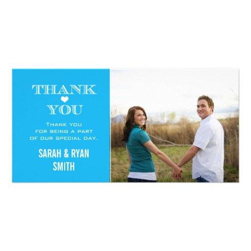 Blue Heart Wedding Photo Thank You Cards Customized Photo Card