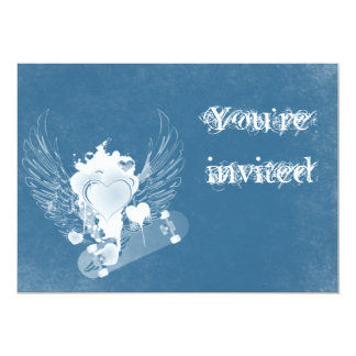 Blue Heart with Angel Wings Invitation