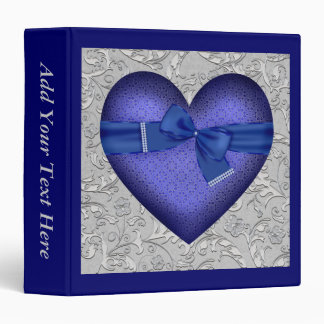 Blue Heart with Pearls 3 Ring Binders