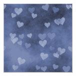 """Blue Hearts 5.25"""" Square Invitation Card"""