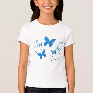 Blue hearts and butterflies girls top