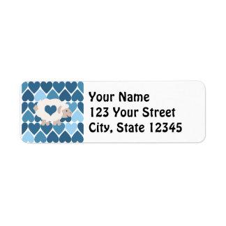 Blue Hearts and Cute Lamb Custom Return Address Labels