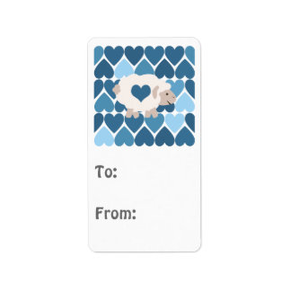 Blue Hearts and Cute Lamb Personalized Address Label