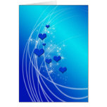Blue Hearts and Sparkles Greeting Card