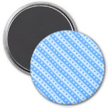 [ Thumbnail: Blue Hearts and Stripes Pattern Round Magnet ]