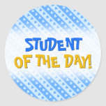 [ Thumbnail: Blue Hearts and Stripes Pattern Round Sticker ]