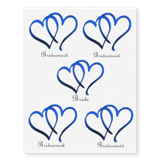 Blue Hearts Bride and Bridesmaids Temporary Tattoo