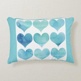Blue Hearts Custom Grade A Cotton Pillow