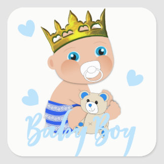 Blue Hearts Cute Baby Boy Prince Shower Square Sticker