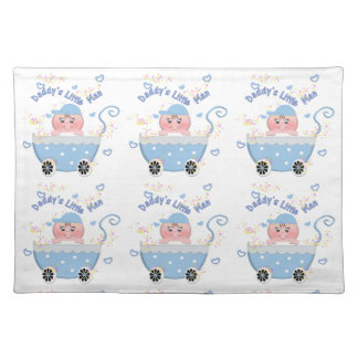 Blue Hearts Daddy's Little Man Baby Buggy Placemat